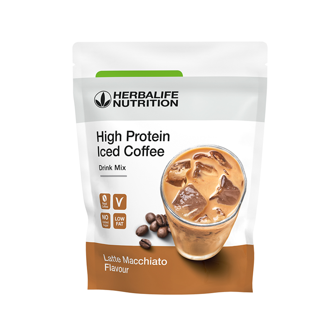 High Protein Iced Coffee  Latte Macchiato product shot