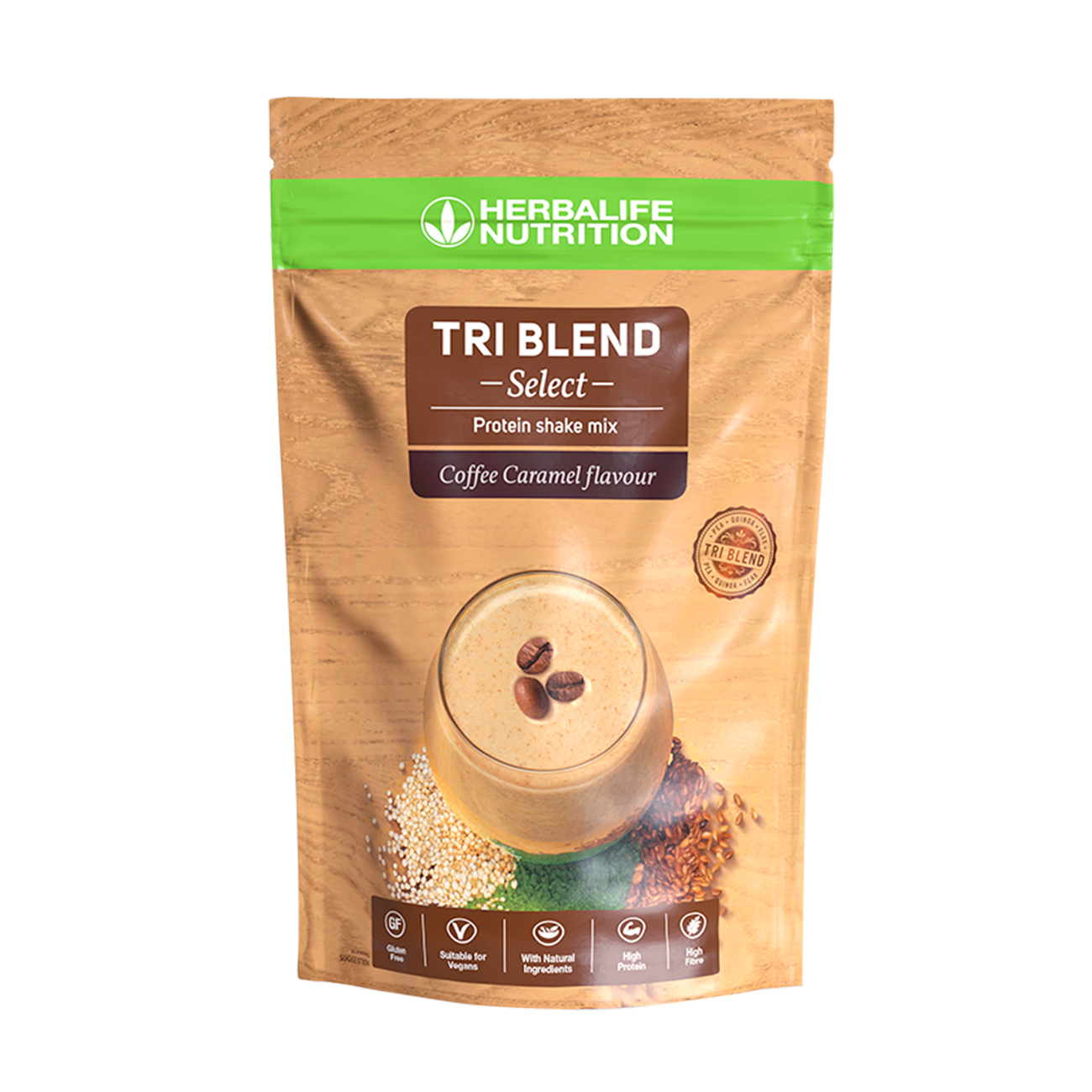 Tri Blend Select Shake mix proteic vegan Coffee Caramel product shot